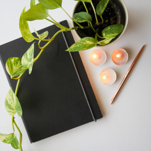 Journal, candles, and plant on desk